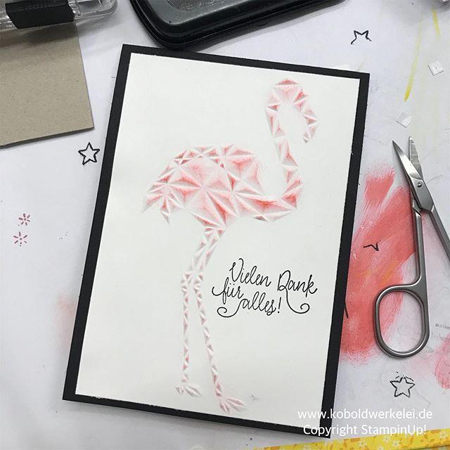 -Werbung-So, ich verarbeite noch sog. UFOS (Unfertige Objekte), denn man fängt ja immer was an und will was Schönes ausprobieren und dann muss man aus irgendwelchen Gründen unterbrechen. Jetzt ist sie fertig, meine Flamingokarte.#flamingo #koboldwerkelei #lippstadt #paderborn #gütersloh #Bielefeld #salzkotten #delbrückPapier, Stempelfarbe und Textstempel von #Stampinup